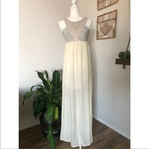 Flying Tomato embroidered high neck maxi dress